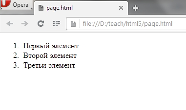 Нумерованный список в HTML