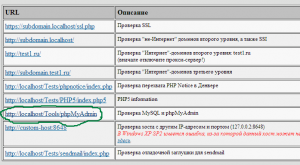 phpMyAdmin в denwer