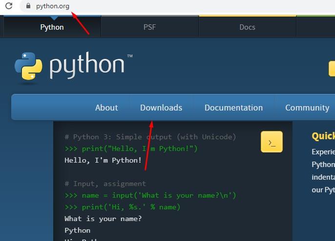 Python тілін жүктеу